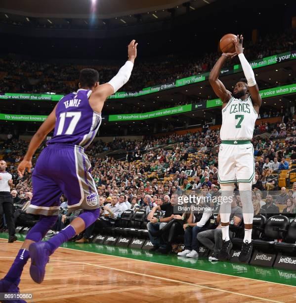 Jaylen Brown of the Boston Celtics shoots the ball against the Sacramento Kings on November 1 2017 at the TD Garden in Boston Massachusetts NOTE TO...