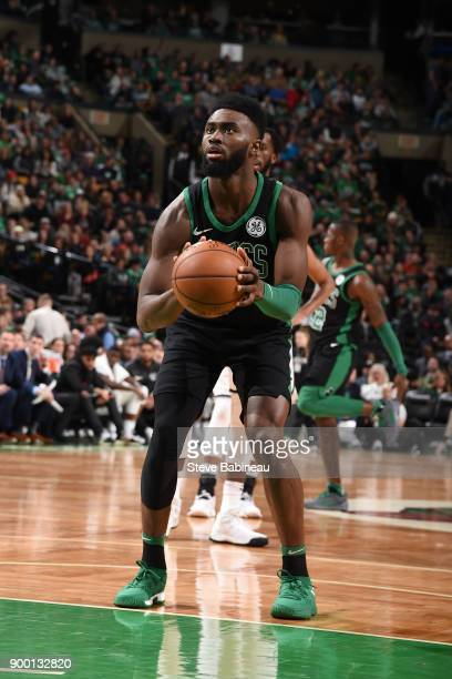 Jaylen Brown of the Boston Celtics shoots the ball against the Brooklyn Nets on December 31 2017 at TD Garden in Boston Massachusetts NOTE TO USER...