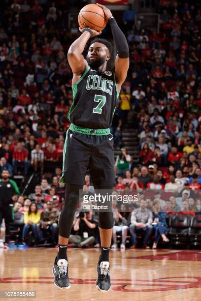 Jaylen Brown of the Boston Celtics shoots the ball against the Houston Rockets on December 27 2018 at the Toyota Center in Houston Texas NOTE TO USER...