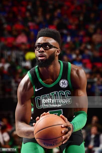 Jaylen Brown of the Boston Celtics shoots the ball against the Detroit Pistons on December 10 2017 at Little Caesars Arena in Detroit Michigan NOTE...