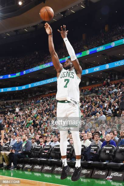 Jaylen Brown of the Boston Celtics shoots the ball against the San Antonio Spurs on October 30 2017 at the TD Garden in Boston Massachusetts NOTE TO...