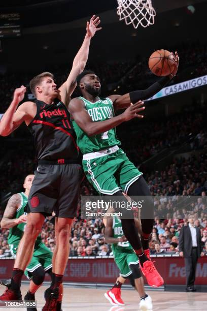 Jaylen Brown of the Boston Celtics shoots the ball against the Portland Trail Blazers on November 11 2018 at the Moda Center in Portland Oregon NOTE...