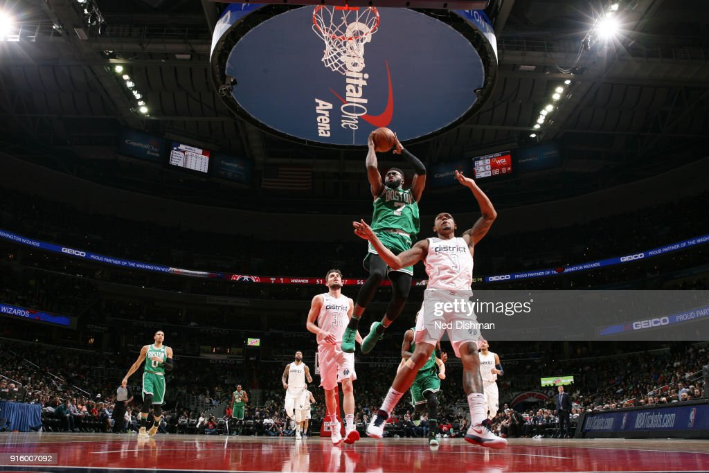 Jaylen Brown #7 of the Boston Celtics shoots the ball during the game against the Washington Wizards on February 8, 2018 at Capital One Arena in Washington, DC.