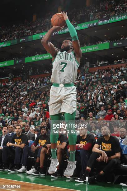 Jaylen Brown of the Boston Celtics shoots the ball during the game against the Cleveland Cavaliers on February 11 2018 at TD Garden in Boston...