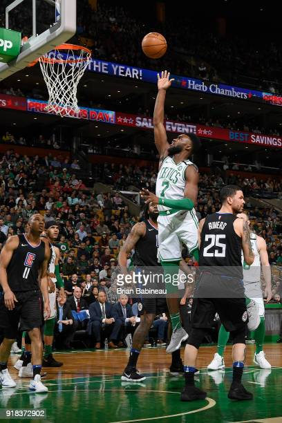 Jaylen Brown of the Boston Celtics shoots the ball during the game against the LA Clippers on February 14 2018 at the TD Garden in Boston...