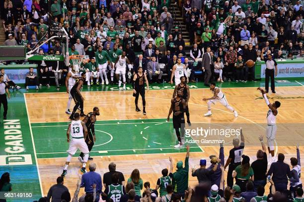 Jaylen Brown of the Boston Celtics shoots the ball in the first half against the Cleveland Cavaliers during Game Seven of the 2018 NBA Eastern...