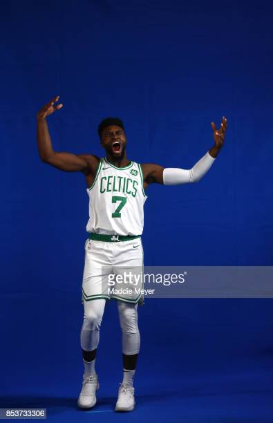 Jaylen Brown of the Boston Celtics stands for a portrait during Celtics Media Day at High Output Studios on September 25 2017 in Canton Massachusetts