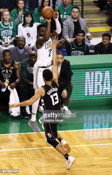 Jaylen Brown of the Boston Celtics takes a shot against Malcolm Brogdon of the Milwaukee Bucks in the third quarter of Game Two in Round One of the...