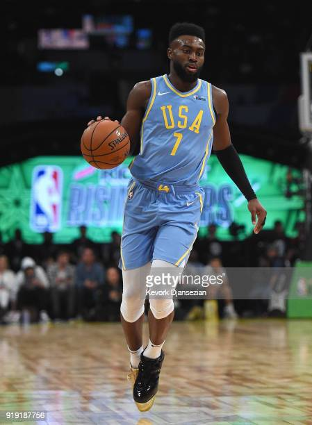 Jaylen Brown of the US Team dribbles the ball upcourt during the 2018 Mountain Dew Kickstart Rising Stars Game at Staples Center on February 16 2018...