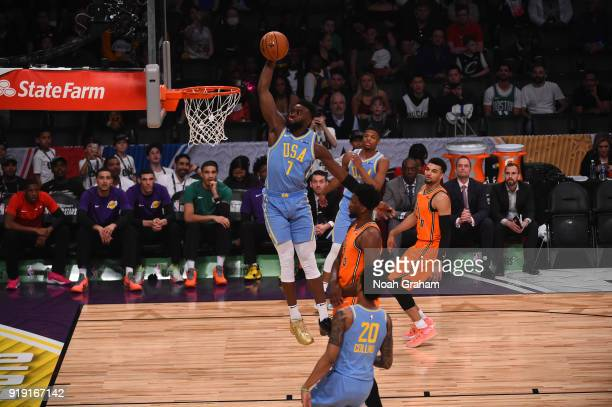 Jaylen Brown of the US Team dunks during the Mtn Dew Kickstart Rising Stars Game during AllStar Friday Night as part of 2018 NBA AllStar Weekend at...