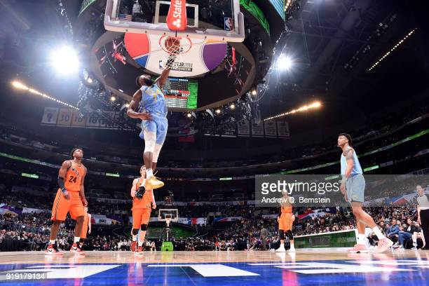 Jaylen Brown of the USA team dunks the ball against the World team during the Mountain Dew Kickstart Rising Stars Game during AllStar Friday Night as...