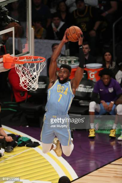 Jaylen Brown of the USA Team goes up for a dunk against the World Team during the Mountain Dew Kickstart Rising Stars Game during AllStar Friday...