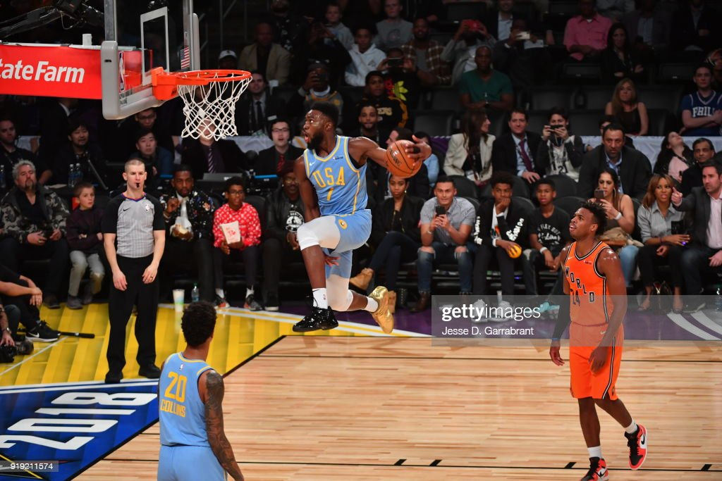 Jaylen Brown #7 of the USA Team goes up for the dunk against the World Team during the Mountain Dew Kickstart Rising Stars Game during All-Star Friday Night as part of 2018 NBA All-Star Weekend at the STAPLES Center on February 16, 2018 in Los Angeles, California.