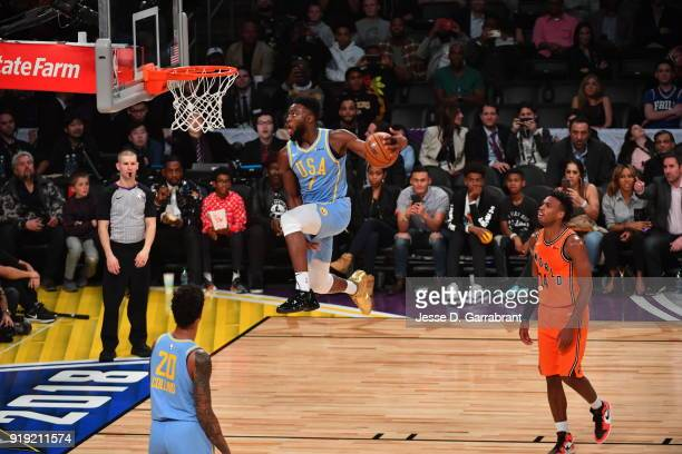 Jaylen Brown of the USA Team goes up for the dunk against the World Team during the Mountain Dew Kickstart Rising Stars Game during AllStar Friday...