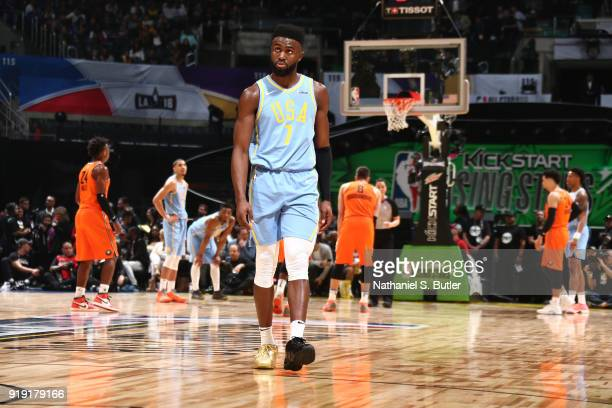 Jaylen Brown of the USA Team looks on during the game against the World Team during the Mountain Dew Kickstart Rising Stars Game during AllStar...