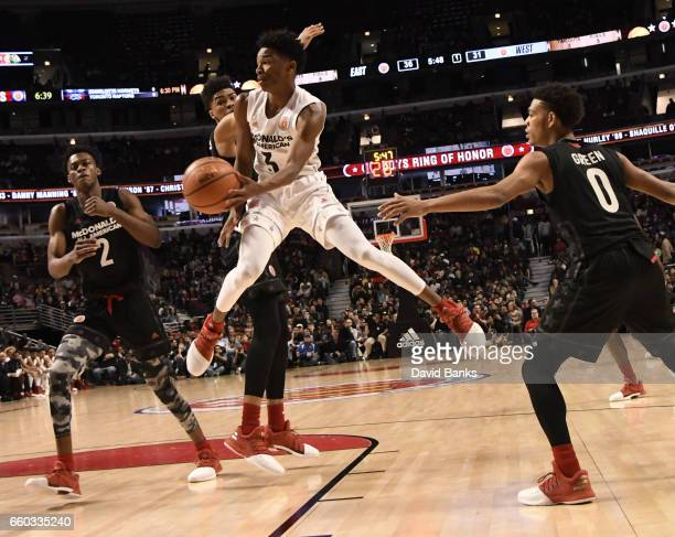 Jaylen Hands boys west team looks to pass against the boys east team during the 2017 McDonalds's All American Game on March 29 2017 at the United...