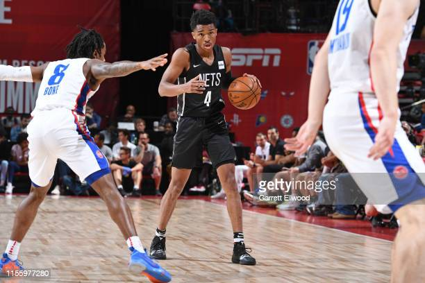 Jaylen Hands of the Brooklyn Nets handles the ball against the Detroit Pistons on July 13 2019 at the Thomas Mack Center in Las Vegas Nevada NOTE TO...