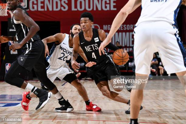 Jaylen Hands of the Brooklyn Nets handles the ball against the Minnesota Timberwolves during the Semifinals of the Las Vegas Summer League on July 14...