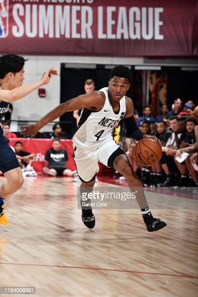 Jaylen Hands of the Brooklyn Nets handles the ball during the game against the Dallas Mavericks during Day 1 of the 2019 Las Vegas Summer League on...