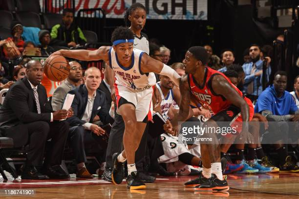 Jaylen Hands of the Long Island Nets passes the ball against the Raptors 905 on December 5 2019 in Toronto Ontario at Soctiabank Arena NOTE TO USER...