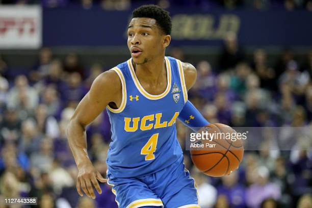 Jaylen Hands of the UCLA Bruins dribbles with the ball in the second half against the Washington Huskies during their game at Hec Edmundson Pavilion...