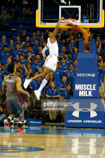 Jaylen Hands of the UCLA Bruins dunks the ball during the first half of a game against the Utah Utes at Pauley Pavilion on February 09 2019 in Los...