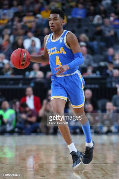Jaylen Hands of the UCLA Bruins handles the ball against the Arizona State Sun Devils during a quarterfinal game of the Pac12 basketball tournament...