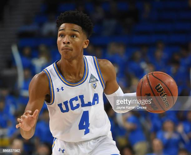 Jaylen Hands of the UCLA Bruins handles the ball in the game against the Detroit Mercy Titans at Pauley Pavilion on December 3 2017 in Los Angeles...