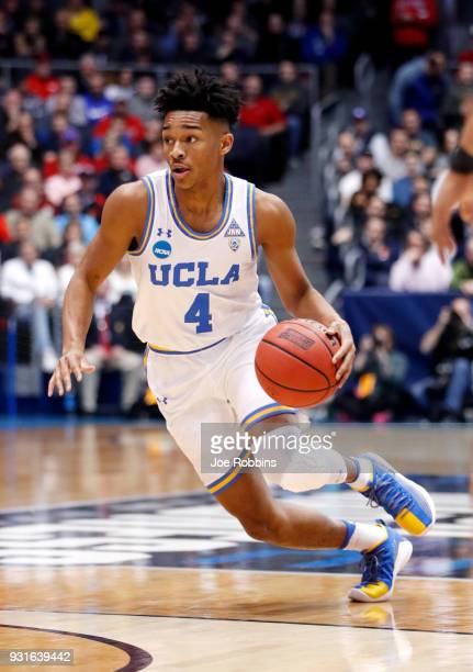 Jaylen Hands of the UCLA Bruins handles the ball on offense against the St Bonaventure Bonnies during the first half of the First Four game in the...