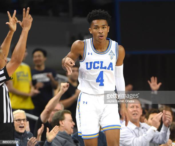 Jaylen Hands of the UCLA Bruins heads down court after hitting a three point basket in the first half of the game against Detroit Mercy Titans at...