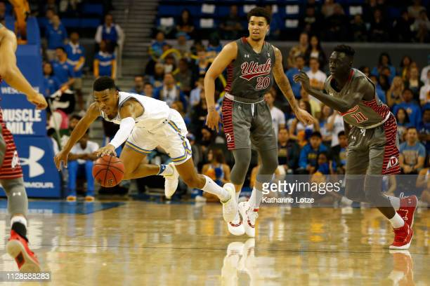Jaylen Hands of the UCLA Bruins reaches for the ball at half court during a game against the Utah Utes at Pauley Pavilion on February 09 2019 in Los...