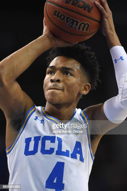 Jaylen Hands of the UCLA Bruins shoots a free throw in the second half of the game against the Detroit Mercy Titans at Pauley Pavilion on December 3...
