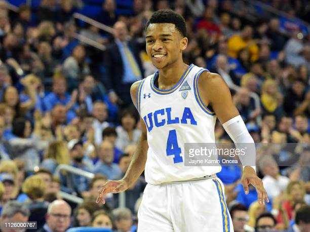 Jaylen Hands of the UCLA Bruins smiles after a three point basket in the game against the Arizona Wildcats at Pauley Pavilion on January 26 2019 in...