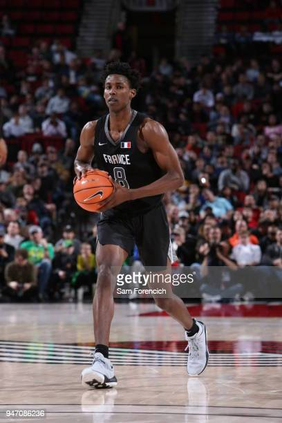 Jaylen Hoard of Team World passes the ball against Team USA during the Nike Hoop Summit on April 13 2018 at the MODA Center Arena in Portland Oregon...