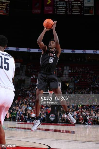 Jaylen Hoard of Team World shoots the ball against Team USA during the Nike Hoop Summit on April 13 2018 at the MODA Center Arena in Portland Oregon...