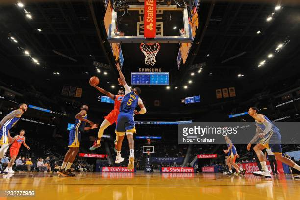 Jaylen Hoard of the Oklahoma City Thunder drives to the basket against the Golden State Warriors on April 8, 2021 at Chase Center in San Francisco,...