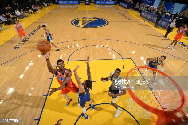 Jaylen Hoard of the Oklahoma City Thunder shoots the ball against the Golden State Warriors on April 8, 2021 at Chase Center in San Francisco,...