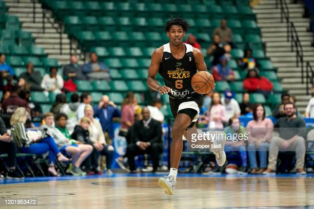 Jaylen Hoard of the Texas Legends brings the ball up court during an NBA GLeague game against the South Bay Lakers on February 19 2020 at the...