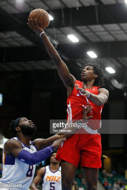 Jaylen Hoard of the Texas Legends drives against Ike Nwamu of the Northern Arizona Suns during the second quarter on February 29, 2020 at Comerica...