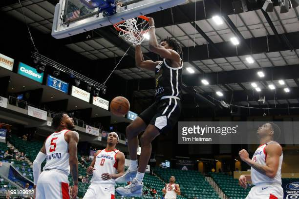 Jaylen Hoard of the Texas Legends dunks against the Agua Caliente Clippers during the fourth quarter on February 06 2020 at Comerica Center in Frisco...