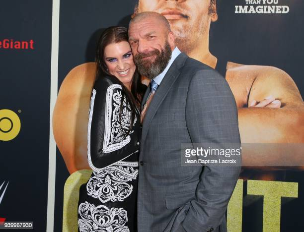 Jaylen Moore and Triple H attend the HBO World Premiere of 'Andre The Giant' on March 29 2018 in Hollywood California
