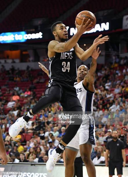 Jaylen Morris of the Brooklyn Nets drives to the basket against Barry Brown Jr #35 of the Minnesota Timberwolves during a semifinal game of the 2019...