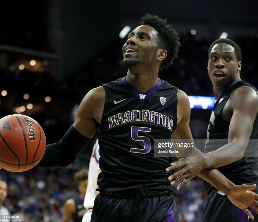 Jaylen Nowell #5 of the Washington Huskies smiles after drawing a foul during the game against the Kansas Jayhawks at the Sprint Center on December 6, 2017 in Kansas City, Missouri.