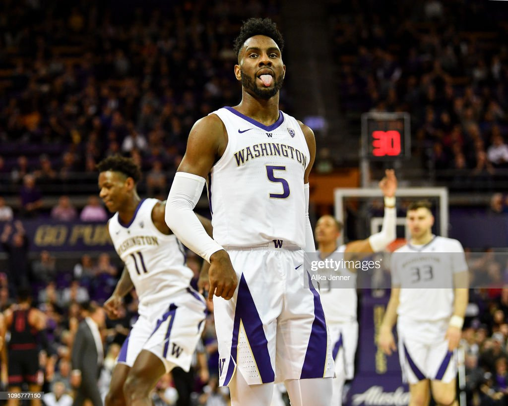 buy online b5f78 fcfb2 Jaylen Nowell of the Washington Huskies tongue wags after ...
