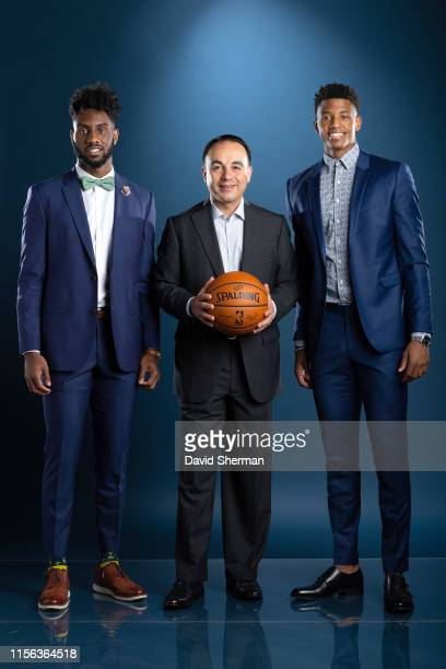 Jaylen Nowell President of Basketball Operations Gersson Rosas and Jarrett Culver of the Minnesota Timberwolves pose for a portrait on July 18 2019...