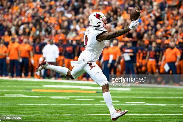 Jaylen Smith of the Louisville Cardinals drops a pass during the second quarter against the Syracuse Orange at the Carrier Dome on November 9 2018 in...