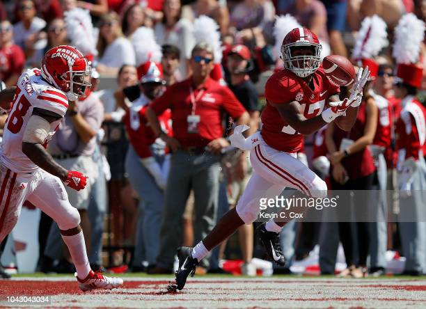 Jaylen Waddle of the Alabama Crimson Tide pulls in this touchdown reception against the Louisiana Ragin Cajuns at BryantDenny Stadium on September 29...