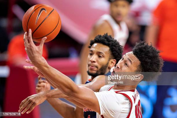 Jaylin Williams of the Arkansas Razorbacks goes up for a shot in the second half against the Auburn Tigers at Bud Walton Arena on January 20, 2021 in...