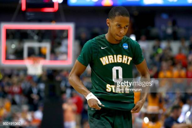 Jaylon Hall of the Wright State Raiders is seen after the Raiders lose to the Tennessee Volunteers 7347 in the first round of the 2018 NCAA Men's...
