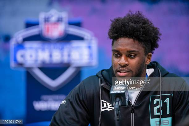 Jaylon Johnson #DB21 of the Utah Utes speaks to the media on day four of the NFL Combine at Lucas Oil Stadium on February 28 2020 in Indianapolis...